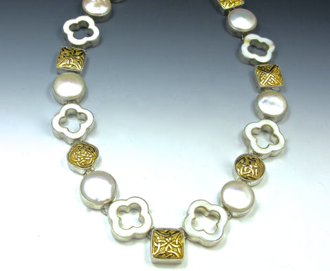Gold eternity knots and pearls necklace
