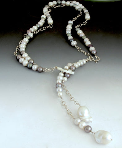 Lariat of gray and white pearls with sterling chain
