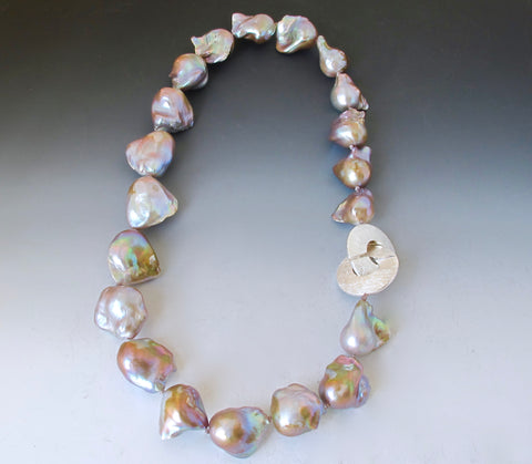 Baroque Pearl Necklace in Natural Pink, Peach, Soft Gray and Buff