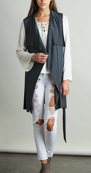SLEEVELESS WRAPAROUND WITH TIE CLOSURE