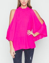 3/4 SLEEVE SHOULDER CUT OUT TOP