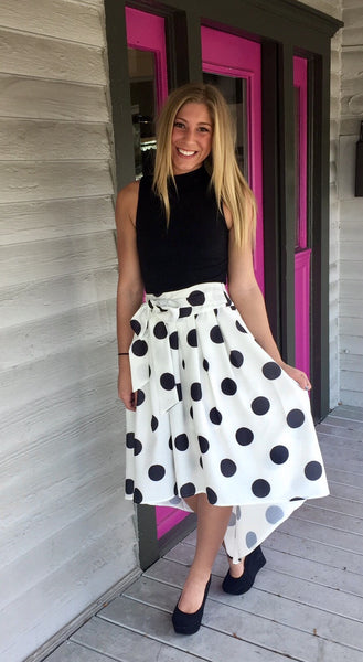 ASYMMETRICAL PLEATS POLKA DOT FULL SKIRT