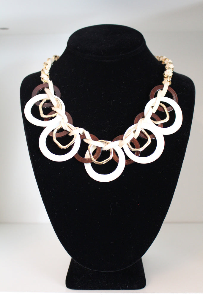 MIXED TEXTILES CIRCLE STATEMENT NECKLACE