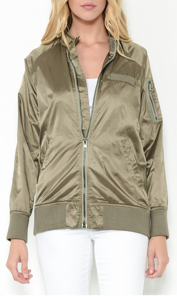 COLLARLESS BOMBER JACKET