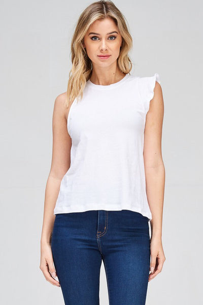 COTTON TANK TOP WITH ONE SIDE RUFFLE DETAIL