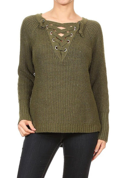 CRISS CROSS FRONT HI LOW SWEATER