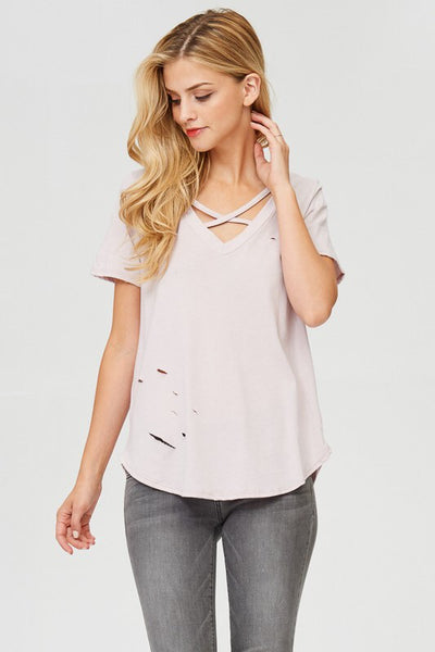 CRISS CROSS DISTRESSED COTTON TEE