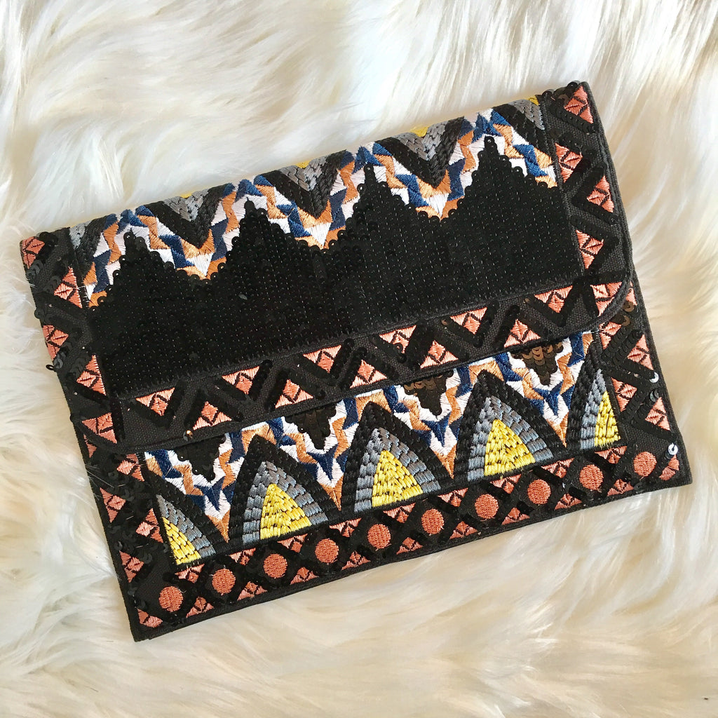 EMBELLISHED CANVAS CLUTCH