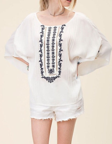EMBROIDERED WIDE SLEEVE TOP