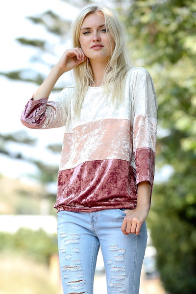 3/4 SLEEVE COLOR BLOCK VELVET TOP