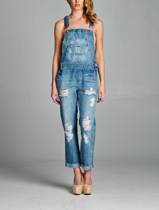 DESTROYED MEDIUM WASH DENIM OVERALLS