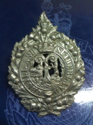 Argyll And Sutherland Original White Metal Cap Badge