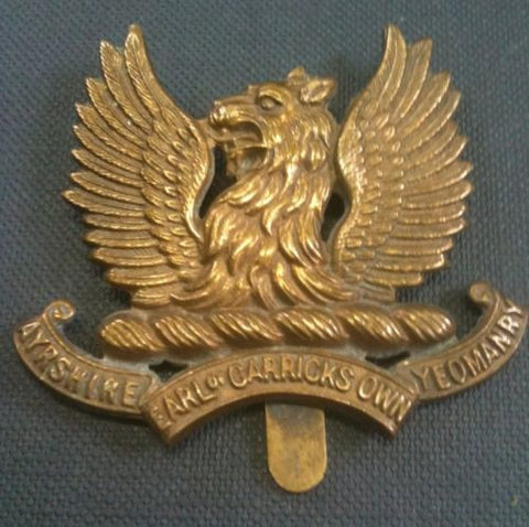 Ayrshire (Earl Of Carricks Own) Yeomanry All Brass Original Cap Badge.