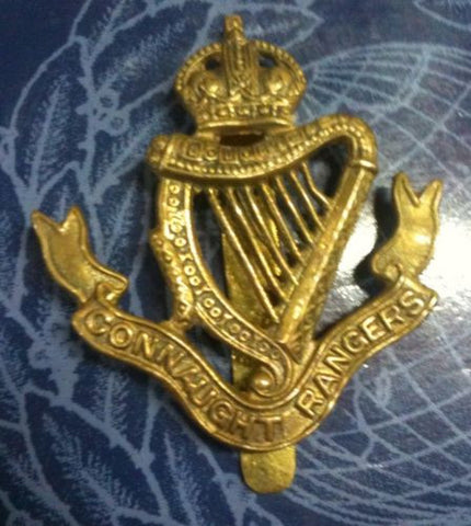 Connaught Rangers Brass Kings Crown Cap Badge.