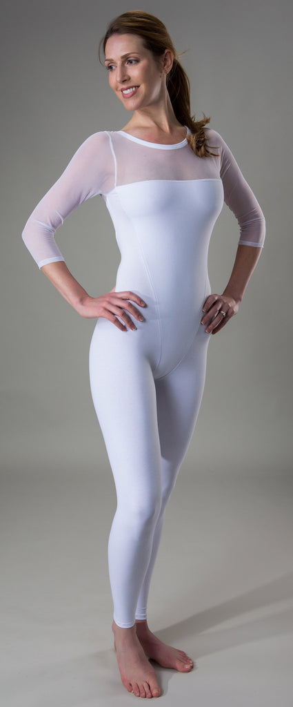 #414 Mesh Top Sleeve Unitard