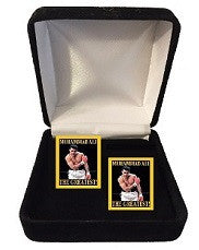 Muhammad Ali Cuff Links- (Taunting) Gold Border
