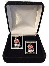 Muhammad Ali Cuff Links- (Taunting) Silver Border