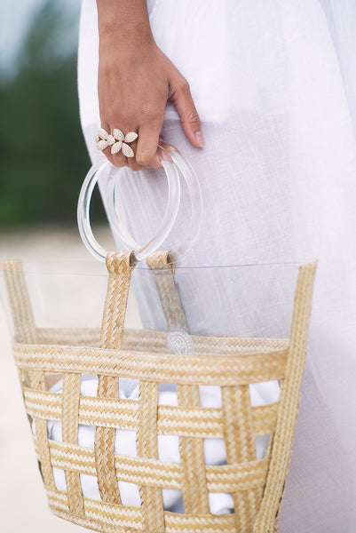 Sea Glass Straw Tote - Natural