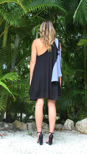 Resilient One Shoulder Dress  - Slate Black/Ash
