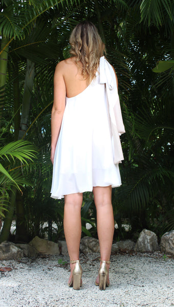 Resilient One Shoulder Dress  - White/Bone