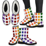 Rainbow Dots Faux Fur Boots