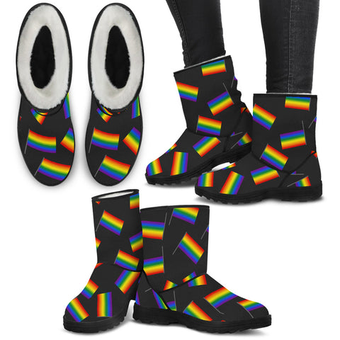 LGBT Bunch of Flags Faux Fur Boots