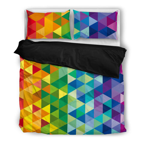Rainbow Mosaic of Triangles Black Bed Set