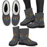 Rainbow Peace Faux Fur Boots