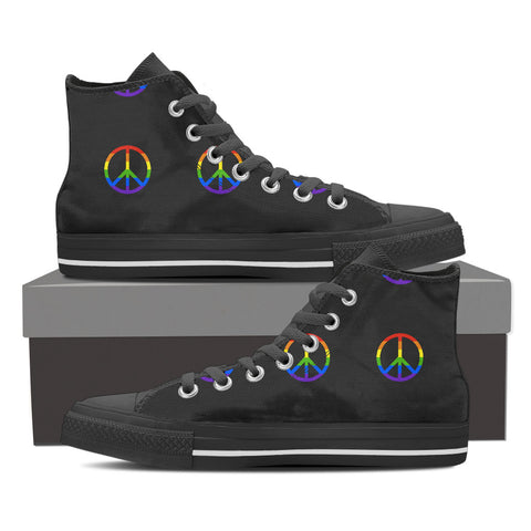 Rainbow Peace High Top Shoes