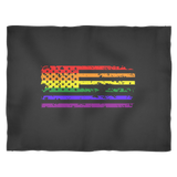 Pride LGBT U.S Rainbow Flag Fleece Black Blanket