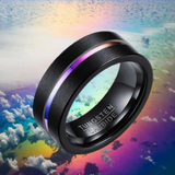 Black Rainbow Tungsten Ring
