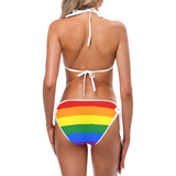 Rainbow  Bikini with White Trim
