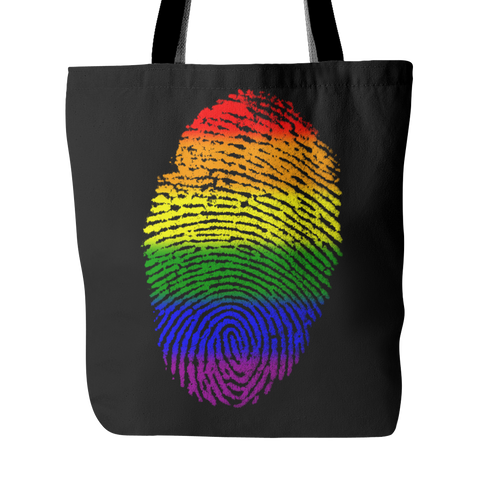 Pride LGBT Fingerprint Black Tote Bag