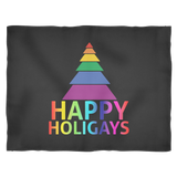 Happy Holigays Fleece Black Blanket