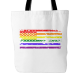 Pride LGBT U.S Rainbow Flag White Tote Bag