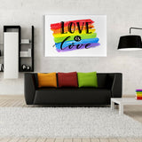 Love Is Love Rainbow Stripes Canvas (Wood Frame Ready To Hang)