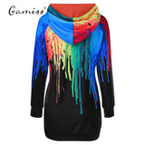 3D Rainbow Long Hoodie with Pocket