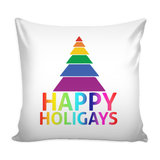 Happy Holigays White Pillow Cover