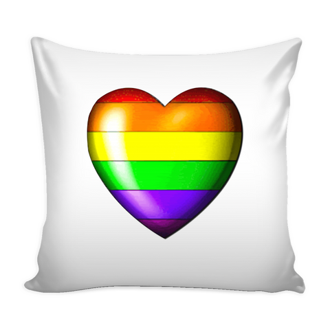 Pride Heart White Pillow Cover