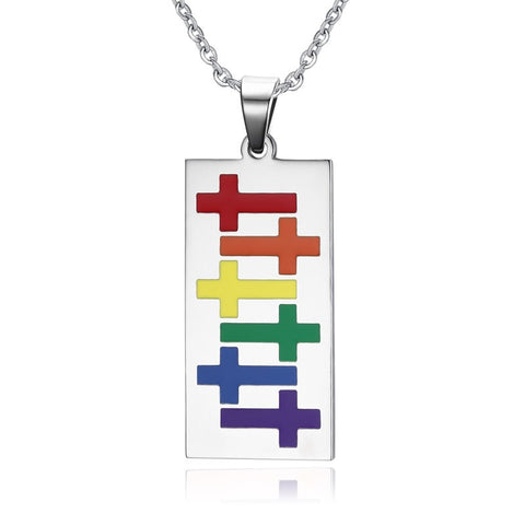 LGBT Pride Cross Tag Pendant Necklace