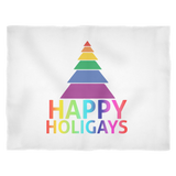 Happy Holigays Fleece White Blanket