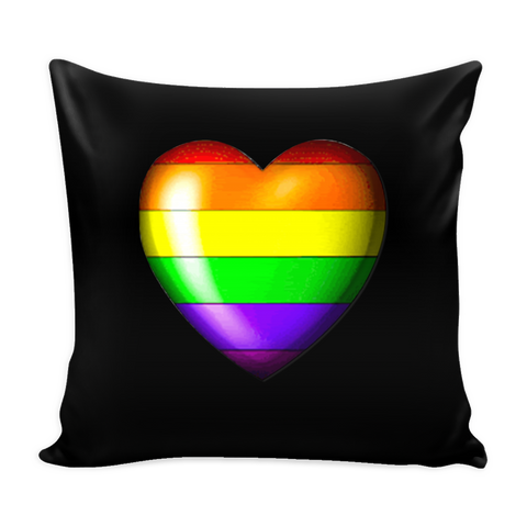 Pride Heart Black Pillow Cover