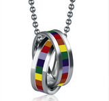 Pride Rainbow Double Circle Necklace