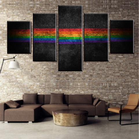 COLOR OUR WORLD WITH PRIDE 5 Pcs Wall Art Print Painting