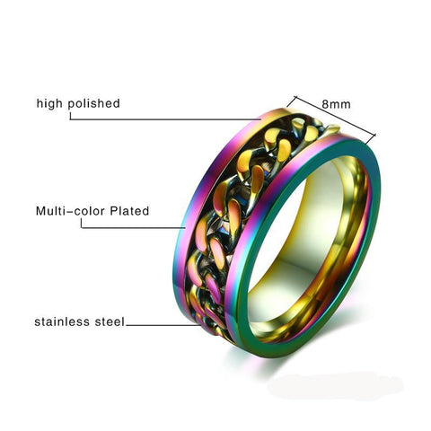 Milano Stainless Steel Ring.Milan Rainbow Spinner Ring Dealclever