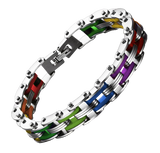 Rainbow Steel Biker Links Bracelet
