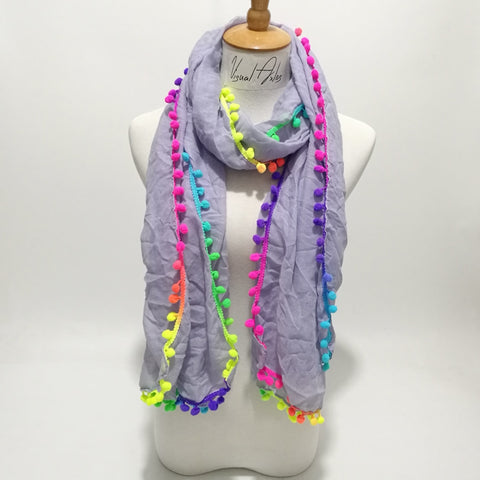 Rainbow Trimming Scarf
