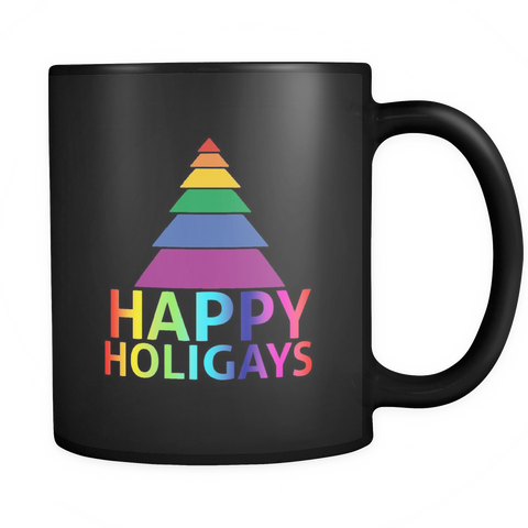 Happy Holigays Black Mug 11oz