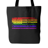 Pride LGBT U.S Rainbow Flag Black Tote Bag