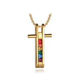 LGBT Cross Necklace + LGBT Bangle Bracelet Set